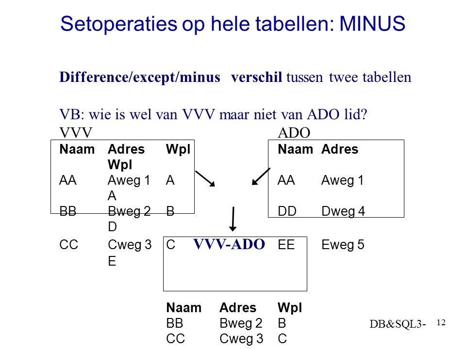 DB&SQL3- 12 Setoperaties op hele tabellen: MINUS Difference/except/minus verschil tussen twee tabellen VB: wie is wel van VVV maar niet van ADO lid? V