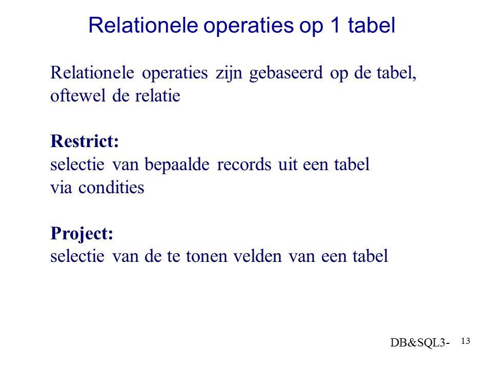 DB&SQL3- 13 Relationele operaties op 1 tabel Relationele operaties zijn gebaseerd op de tabel, oftewel de relatie Restrict: selectie van bepaalde reco