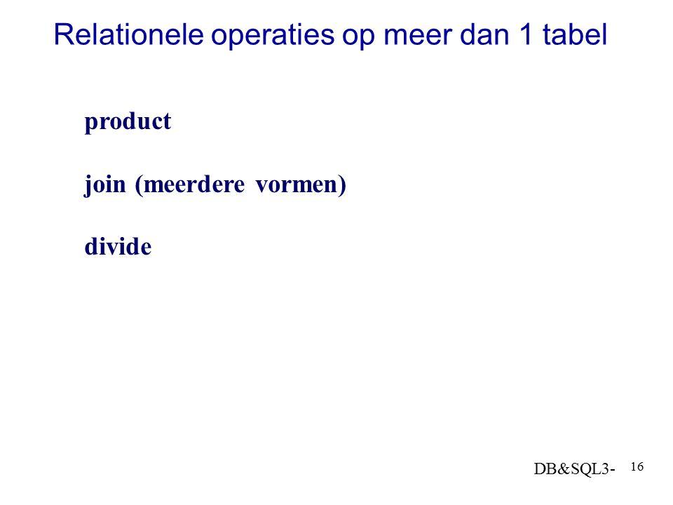 DB&SQL3- 16 Relationele operaties op meer dan 1 tabel product join (meerdere vormen) divide