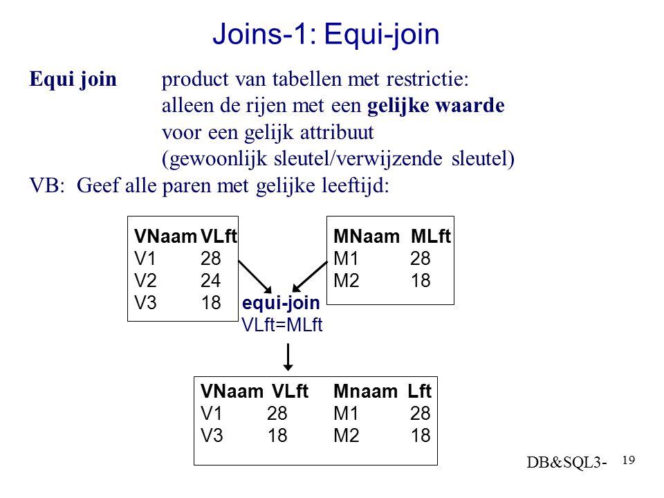 DB&SQL3- 19 Joins-1: Equi-join Equi joinproduct van tabellen met restrictie: alleen de rijen met een gelijke waarde voor een gelijk attribuut (gewoonl