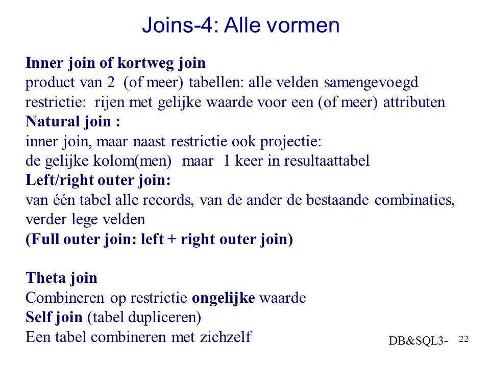 DB&SQL3- 22 Joins-4: Alle vormen Inner join of kortweg join product van 2 (of meer) tabellen: alle velden samengevoegd restrictie: rijen met gelijke w