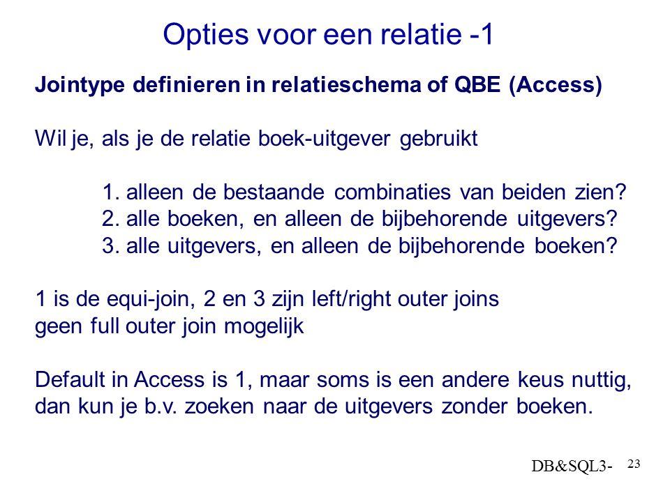 DB&SQL3- 23 Jointype definieren in relatieschema of QBE (Access) Wil je, als je de relatie boek-uitgever gebruikt 1. alleen de bestaande combinaties v
