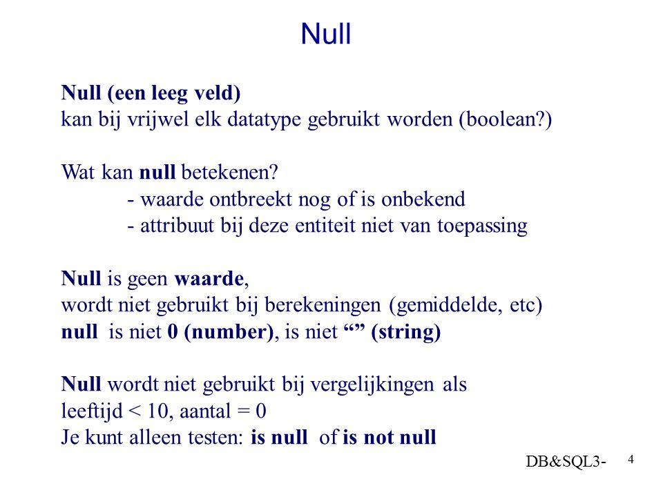DB&SQL3- 4 Null Null (een leeg veld) kan bij vrijwel elk datatype gebruikt worden (boolean?) Wat kan null betekenen? - waarde ontbreekt nog of is onbe