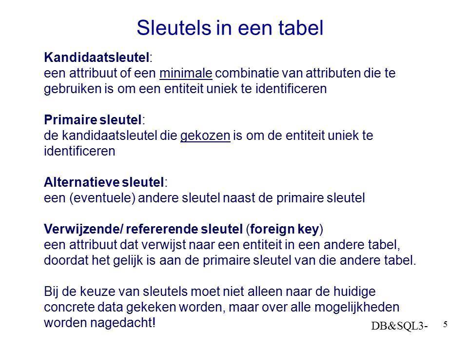 DB&SQL3- 5 Sleutels in een tabel Kandidaatsleutel: een attribuut of een minimale combinatie van attributen die te gebruiken is om een entiteit uniek t