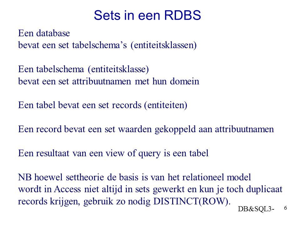 DB&SQL3- 6 Sets in een RDBS Een database bevat een set tabelschema's (entiteitsklassen) Een tabelschema (entiteitsklasse) bevat een set attribuutnamen
