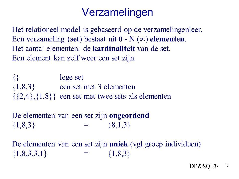 DB&SQL3- 7 Verzamelingen Het relationeel model is gebaseerd op de verzamelingenleer. Een verzameling (set) bestaat uit 0 - N (  ) elementen. Het aant