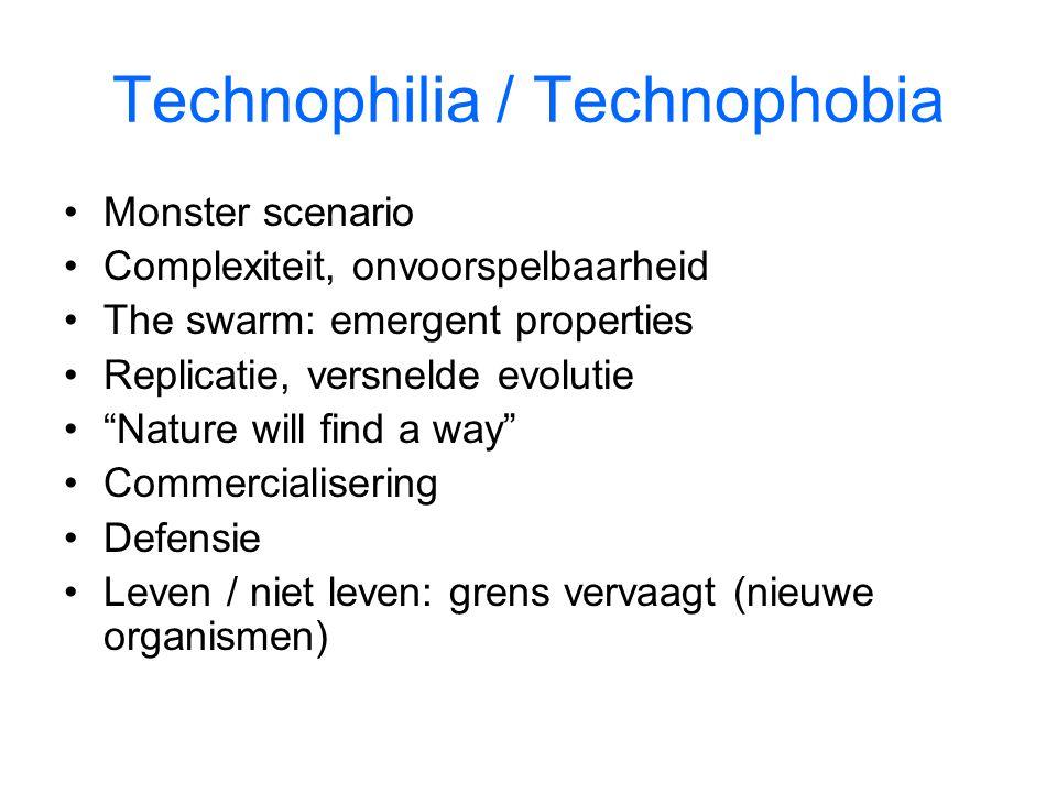 Technophilia / Technophobia Monster scenario Complexiteit, onvoorspelbaarheid The swarm: emergent properties Replicatie, versnelde evolutie Nature will find a way Commercialisering Defensie Leven / niet leven: grens vervaagt (nieuwe organismen)