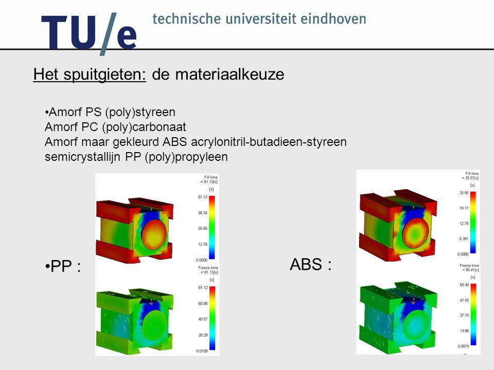 Het spuitgieten: de materiaalkeuze Amorf PS (poly)styreen Amorf PC (poly)carbonaat Amorf maar gekleurd ABS acrylonitril-butadieen-styreen semicrystallijn PP (poly)propyleen PP : ABS :