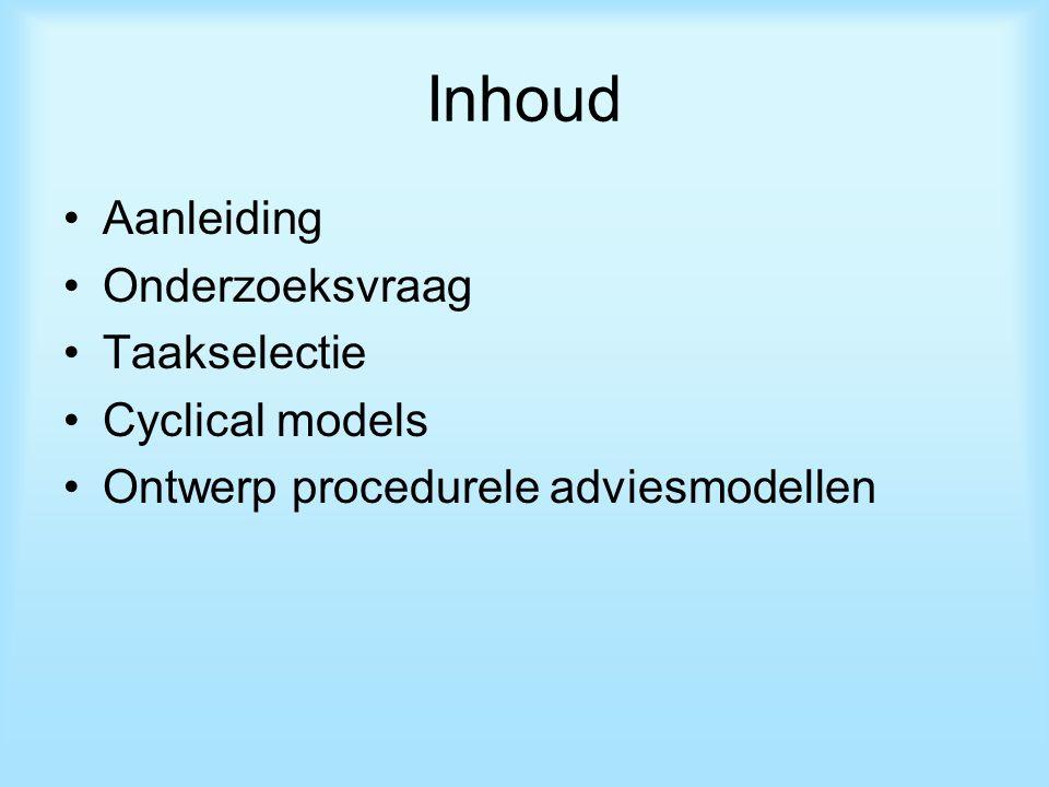 Inhoud Aanleiding Onderzoeksvraag Taakselectie Cyclical models Ontwerp procedurele adviesmodellen