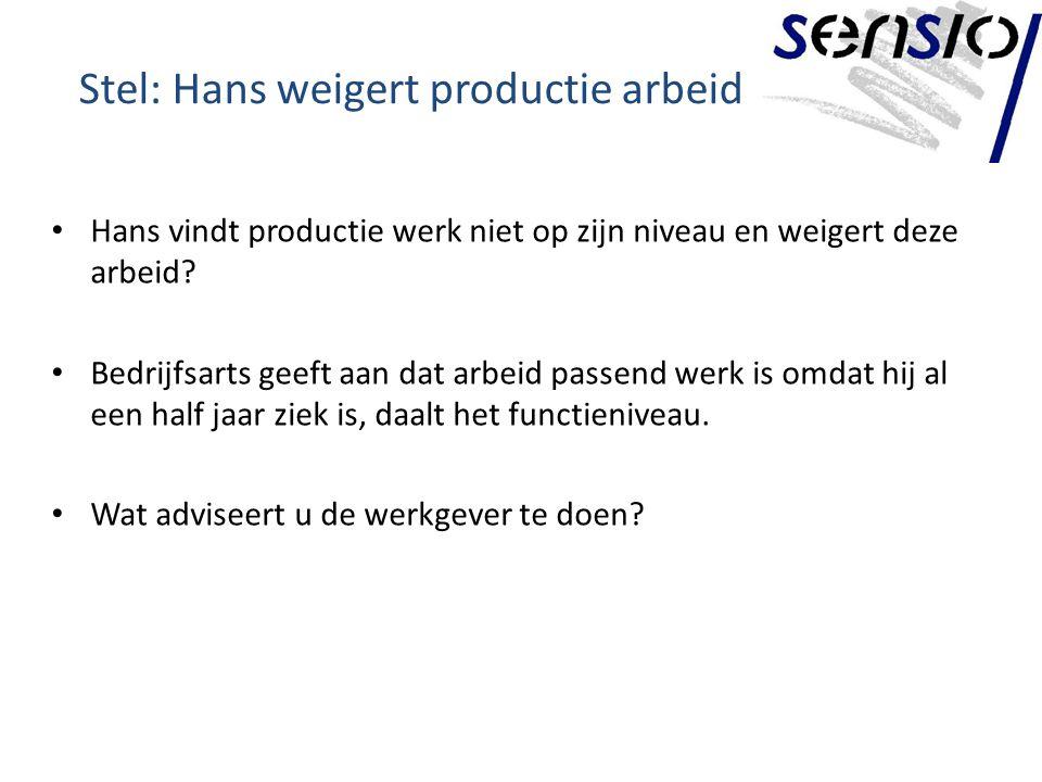 Stel: Hans weigert productie arbeid Hans vindt productie werk niet op zijn niveau en weigert deze arbeid.