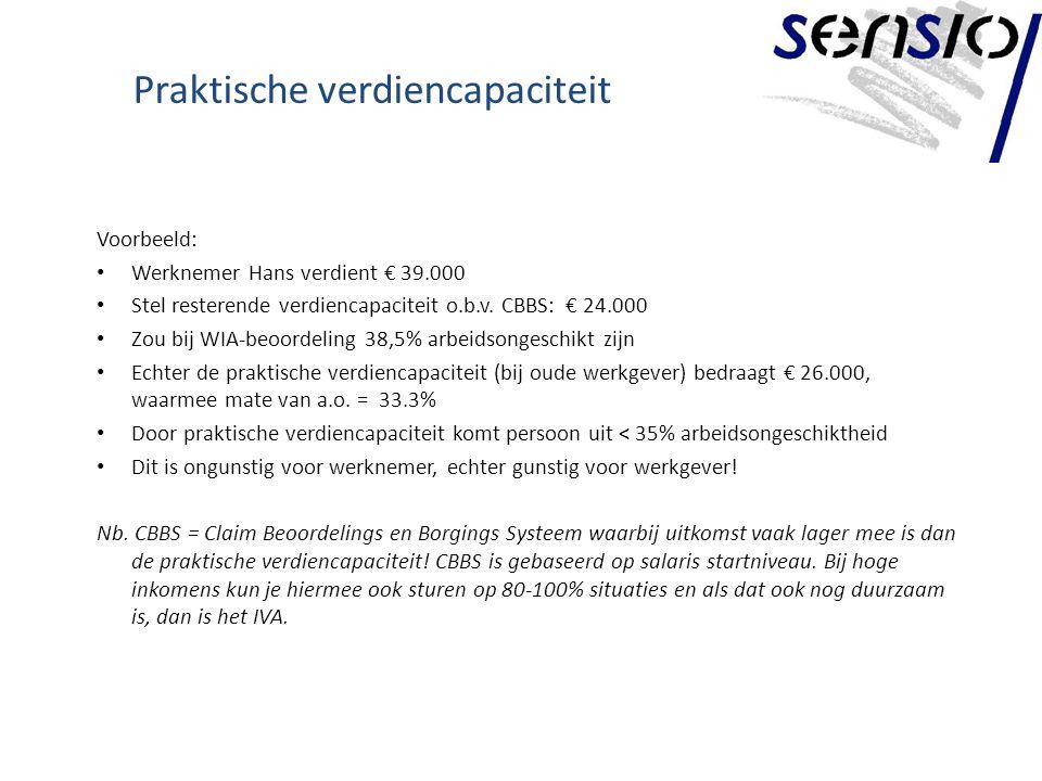 Praktische verdiencapaciteit Voorbeeld: Werknemer Hans verdient € 39.000 Stel resterende verdiencapaciteit o.b.v.