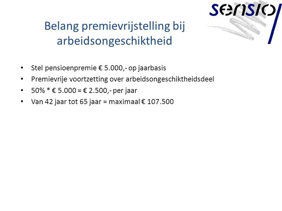 Belang premievrijstelling bij arbeidsongeschiktheid Stel pensioenpremie € 5.000,- op jaarbasis Premievrije voortzetting over arbeidsongeschiktheidsdeel 50% * € 5.000 = € 2.500,- per jaar Van 42 jaar tot 65 jaar = maximaal € 107.500