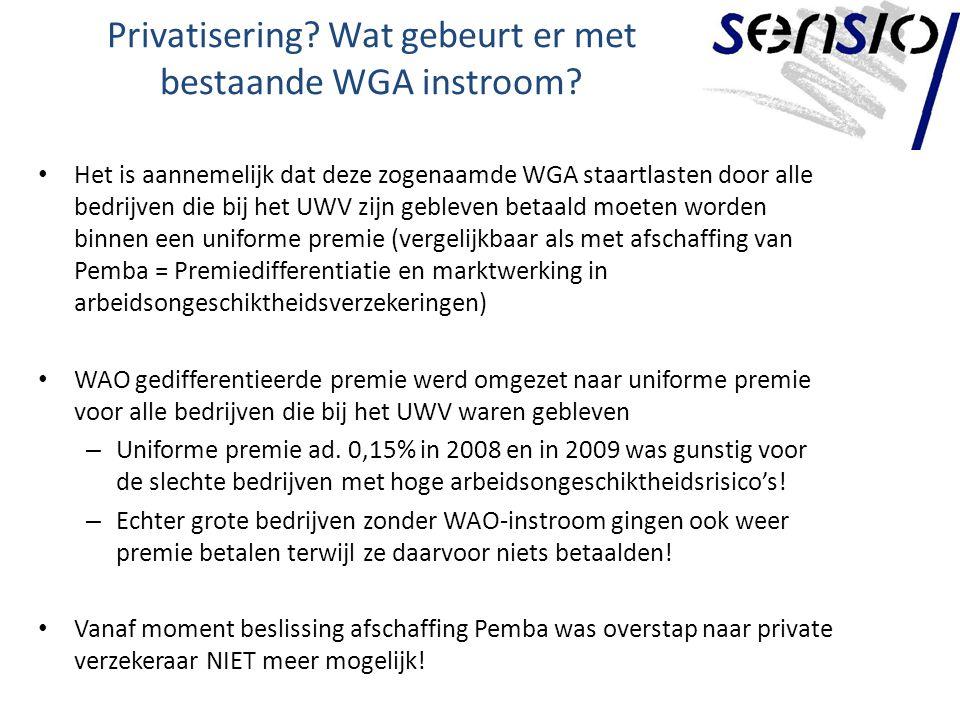 Privatisering.Wat gebeurt er met bestaande WGA instroom.