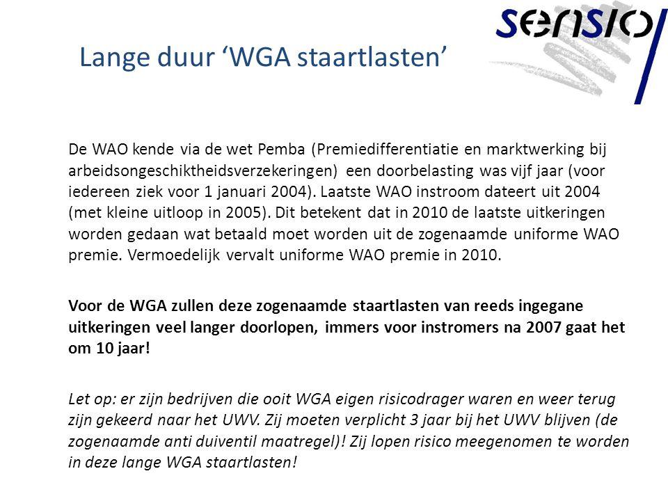 Lange duur 'WGA staartlasten' De WAO kende via de wet Pemba (Premiedifferentiatie en marktwerking bij arbeidsongeschiktheidsverzekeringen) een doorbelasting was vijf jaar (voor iedereen ziek voor 1 januari 2004).