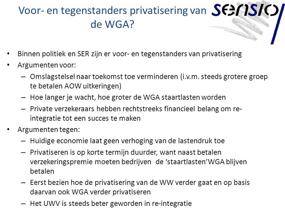 Voor- en tegenstanders privatisering van de WGA.