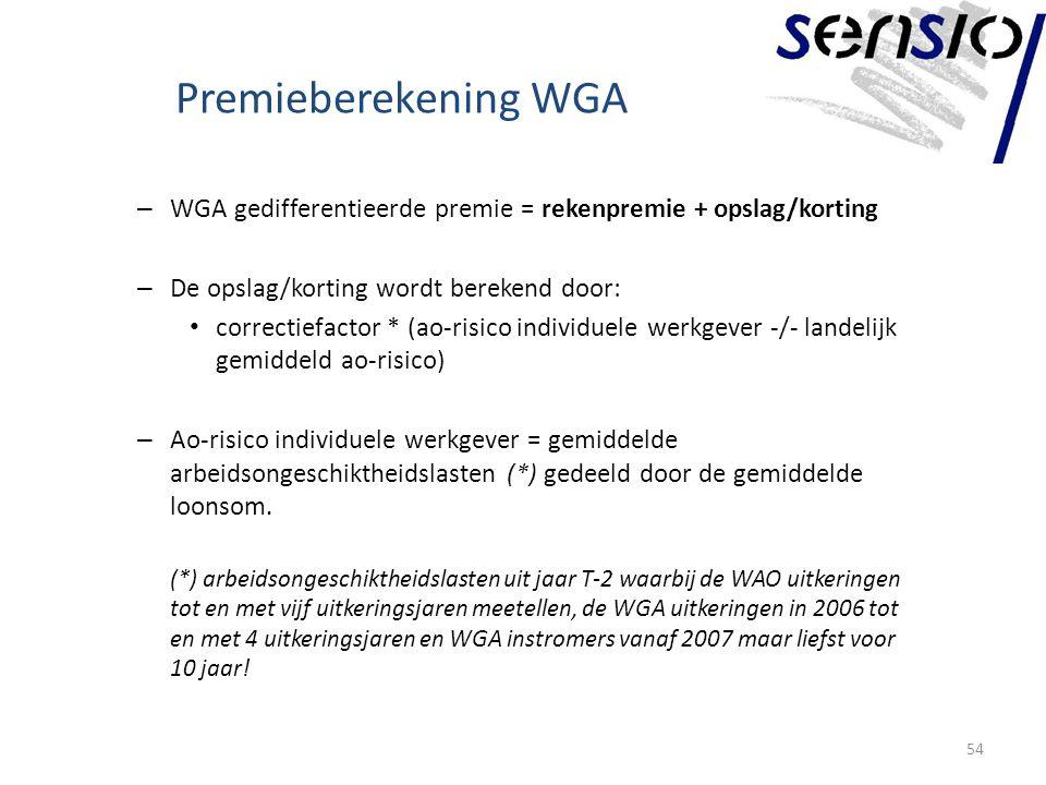 Premieberekening WGA – WGA gedifferentieerde premie = rekenpremie + opslag/korting – De opslag/korting wordt berekend door: correctiefactor * (ao-risico individuele werkgever -/- landelijk gemiddeld ao-risico) – Ao-risico individuele werkgever = gemiddelde arbeidsongeschiktheidslasten (*) gedeeld door de gemiddelde loonsom.