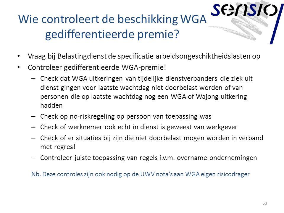 Wie controleert de beschikking WGA gedifferentieerde premie.