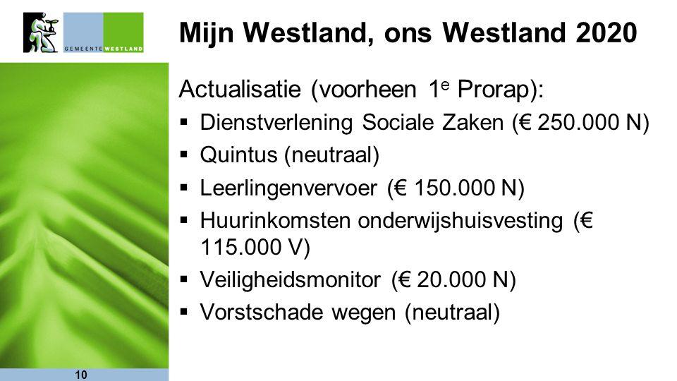 10 Mijn Westland, ons Westland 2020 Actualisatie (voorheen 1 e Prorap):  Dienstverlening Sociale Zaken (€ 250.000 N)  Quintus (neutraal)  Leerlinge