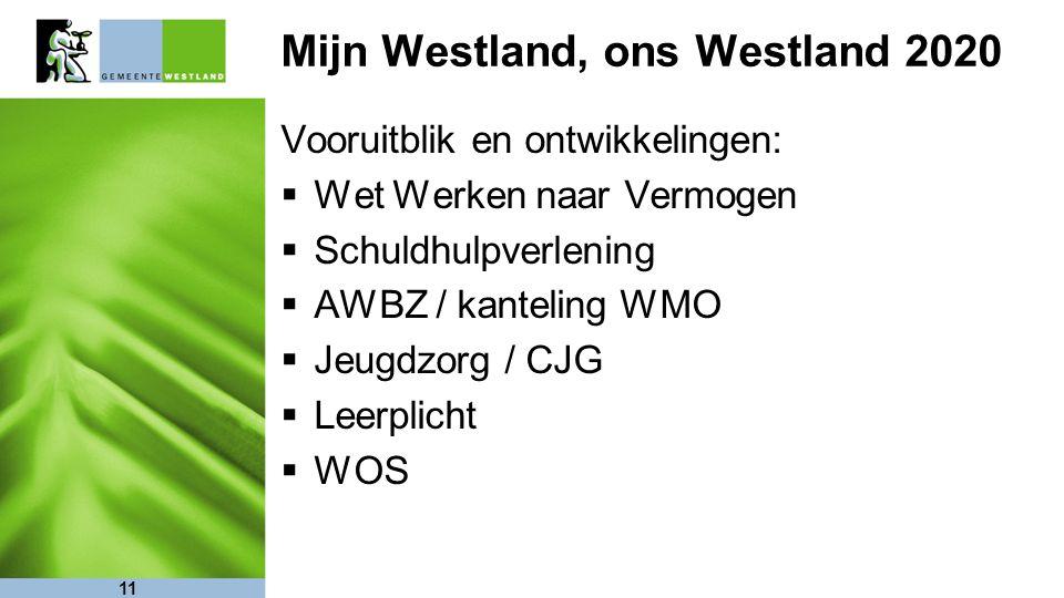 11 Mijn Westland, ons Westland 2020 Vooruitblik en ontwikkelingen:  Wet Werken naar Vermogen  Schuldhulpverlening  AWBZ / kanteling WMO  Jeugdzorg