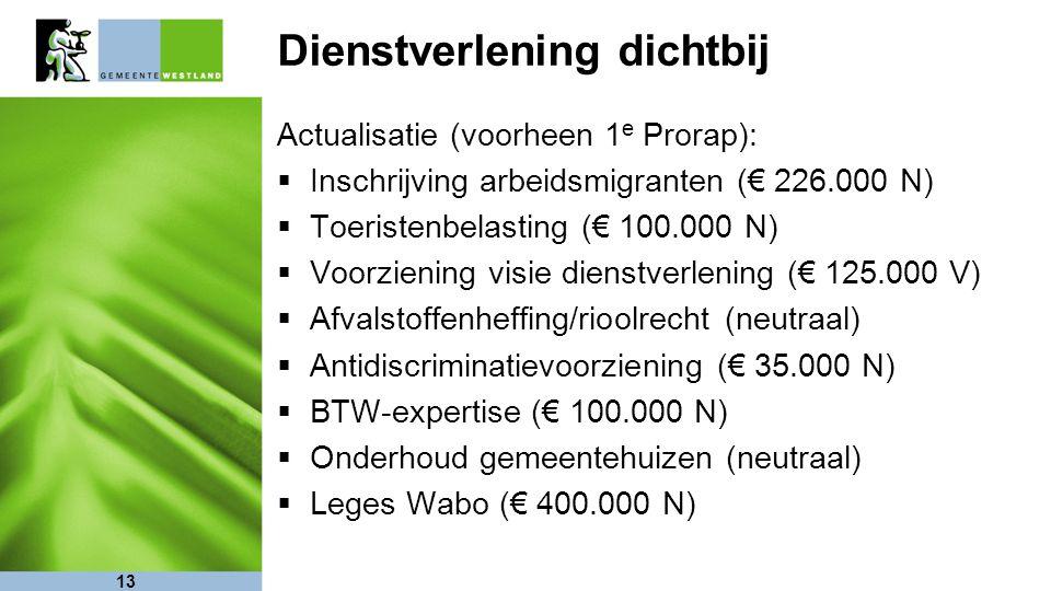 13 Dienstverlening dichtbij Actualisatie (voorheen 1 e Prorap):  Inschrijving arbeidsmigranten (€ 226.000 N)  Toeristenbelasting (€ 100.000 N)  Voo
