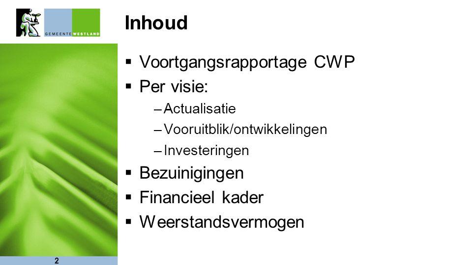 2 Inhoud  Voortgangsrapportage CWP  Per visie: –Actualisatie –Vooruitblik/ontwikkelingen –Investeringen  Bezuinigingen  Financieel kader  Weersta