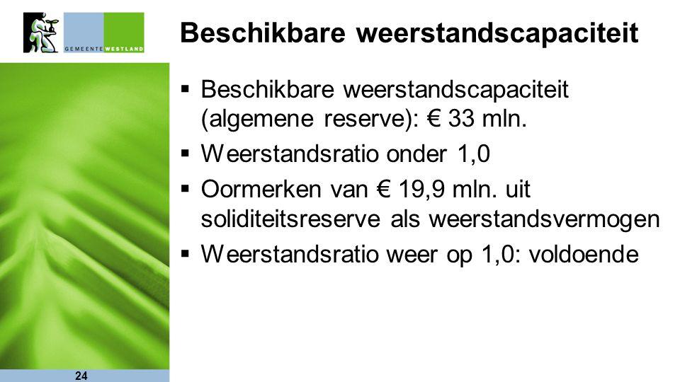 24 Beschikbare weerstandscapaciteit  Beschikbare weerstandscapaciteit (algemene reserve): € 33 mln.  Weerstandsratio onder 1,0  Oormerken van € 19,