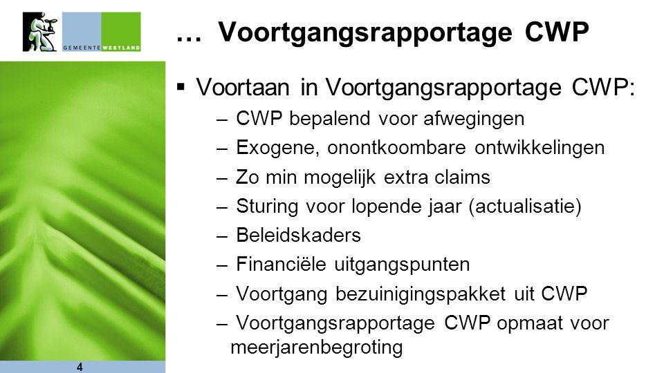 4 … Voortgangsrapportage CWP  Voortaan in Voortgangsrapportage CWP: – CWP bepalend voor afwegingen – Exogene, onontkoombare ontwikkelingen – Zo min m