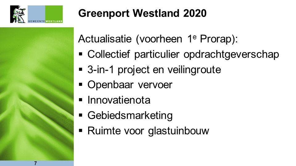 7 Greenport Westland 2020 Actualisatie (voorheen 1 e Prorap):  Collectief particulier opdrachtgeverschap  3-in-1 project en veilingroute  Openbaar