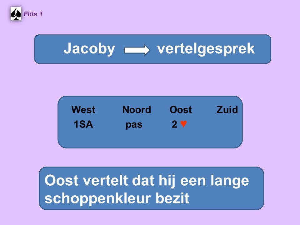 Flits 1 Stayman vraaggesprek WestNoordOostZuid Oost vertelt dat hij een lange schoppenkleur bezit Jacoby vertelgesprek 1SA pas 2 ♥