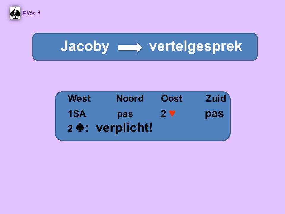 Flits 1 Stayman vraaggesprek WestNoordOostZuid Jacoby vertelgesprek 1SA pas 2 ♥ pas 2 ♠ : verplicht!