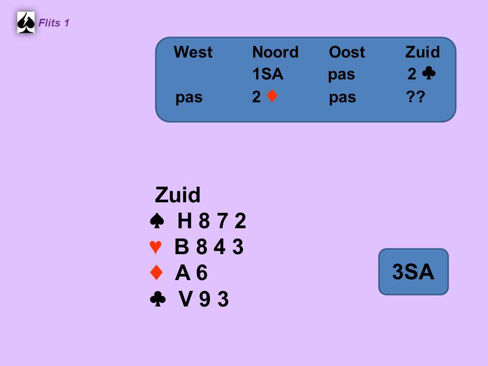 Flits 1 Zuid ♠ H 8 7 2 ♥ B 8 4 3 ♦ A 6 ♣ V 9 3 WestNoordOostZuid 1SA pas 2 ♣ pas2 ♦ pas 3SA