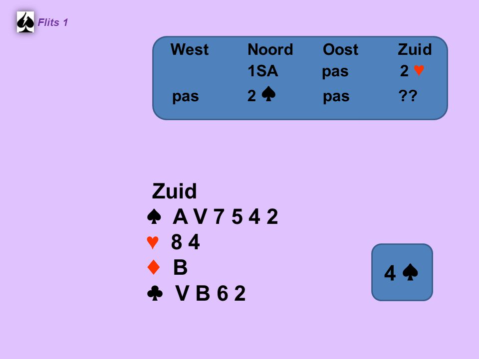 Flits 1 Zuid ♠ A V 7 5 4 2 ♥ 8 4 ♦ B ♣ V B 6 2 WestNoordOostZuid 1SA pas 2 ♥ pas2 ♠ pas 4 ♠