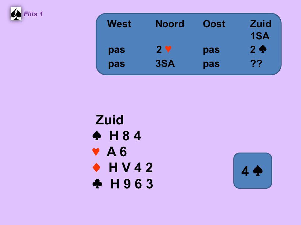 Flits 1 Zuid ♠ H 8 4 ♥ A 6 ♦ H V 4 2 ♣ H 9 6 3 WestNoordOostZuid 1SA pas 2 ♥ pas2 ♠ pas3SApas 4 ♠