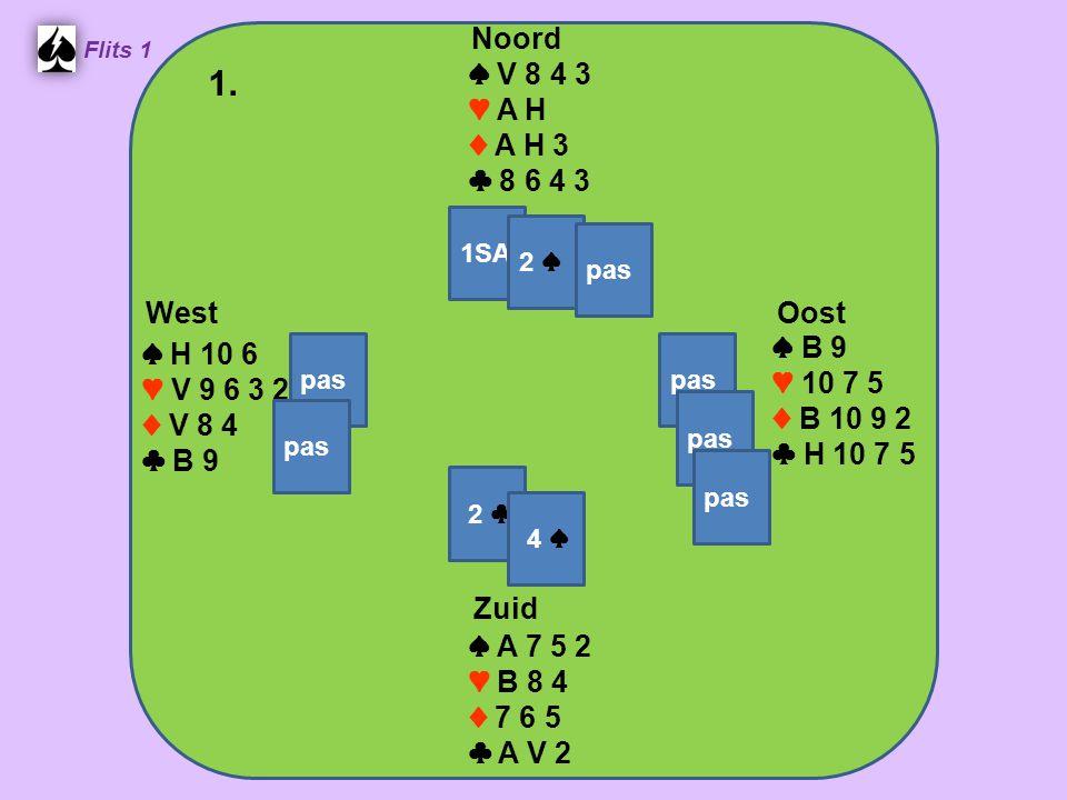 Zuid ♠ A 7 5 2 ♥ B 8 4 ♦ 7 6 5 ♣ A V 2 West ♠ H 10 6 ♥ V 9 6 3 2 ♦ V 8 4 ♣ B 9 Noord ♠ V 8 4 3 ♥ A H ♦ A H 3 ♣ 8 6 4 3 Oost ♠ B 9 ♥ 10 7 5 ♦ B 10 9 2 ♣ H 10 7 5 1.