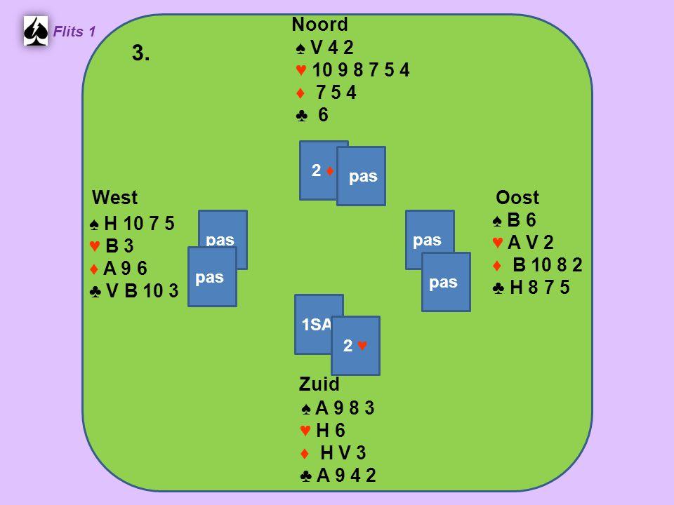 Zuid ♠ A 9 8 3 ♥ H 6 ♦ H V 3 ♣ A 9 4 2 West ♠ H 10 7 5 ♥ B 3 ♦ A 9 6 ♣ V B 10 3 Noord ♠ V 4 2 ♥ 10 9 8 7 5 4 ♦ 7 5 4 ♣ 6 Oost ♠ B 6 ♥ A V 2 ♦ B 10 8 2 ♣ H 8 7 5 3.