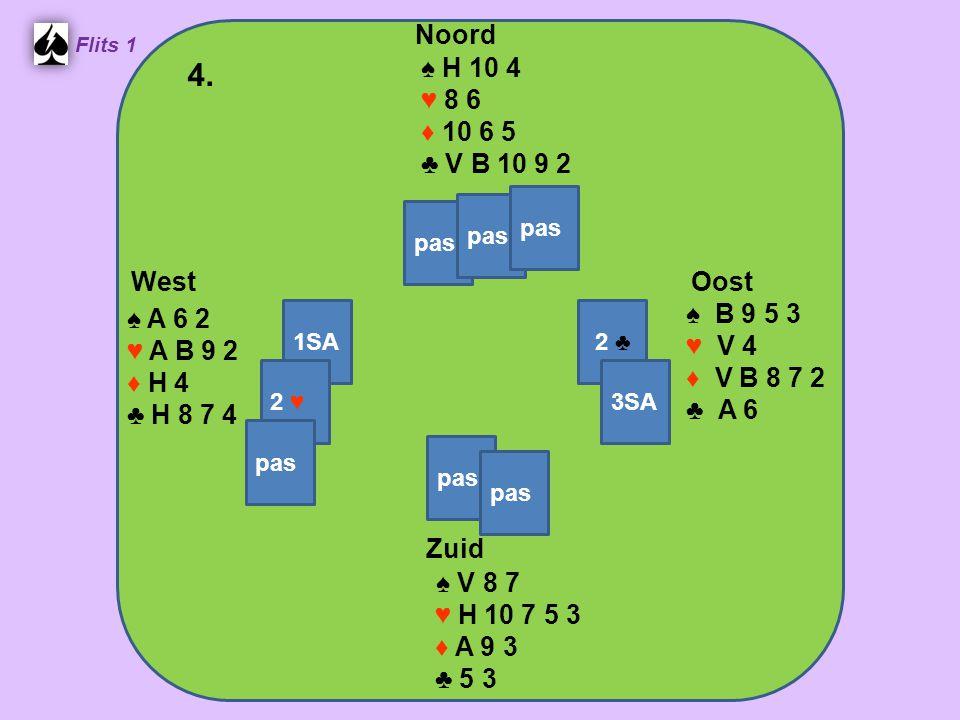 Zuid ♠ V 8 7 ♥ H 10 7 5 3 ♦ A 9 3 ♣ 5 3 West ♠ A 6 2 ♥ A B 9 2 ♦ H 4 ♣ H 8 7 4 Noord ♠ H 10 4 ♥ 8 6 ♦ 10 6 5 ♣ V B 10 9 2 Oost ♠ B 9 5 3 ♥ V 4 ♦ V B 8 7 2 ♣ A 6 4.