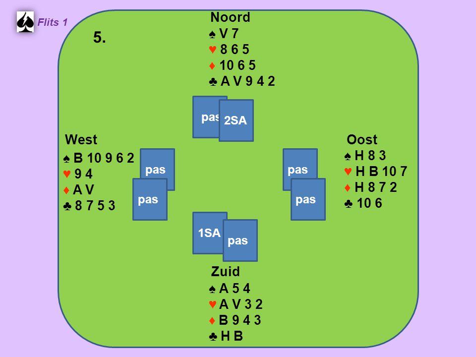 Zuid ♠ A 5 4 ♥ A V 3 2 ♦ B 9 4 3 ♣ H B West ♠ B 10 9 6 2 ♥ 9 4 ♦ A V ♣ 8 7 5 3 Noord ♠ V 7 ♥ 8 6 5 ♦ 10 6 5 ♣ A V 9 4 2 Oost ♠ H 8 3 ♥ H B 10 7 ♦ H 8 7 2 ♣ 10 6 5.