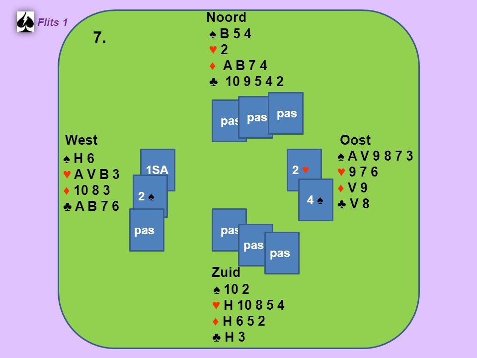 Zuid ♠ 10 2 ♥ H 10 8 5 4 ♦ H 6 5 2 ♣ H 3 West ♠ H 6 ♥ A V B 3 ♦ 10 8 3 ♣ A B 7 6 Noord ♠ B 5 4 ♥ 2 ♦ A B 7 4 ♣ 10 9 5 4 2 Oost ♠ A V 9 8 7 3 ♥ 9 7 6 ♦ V 9 ♣ V 8 7.