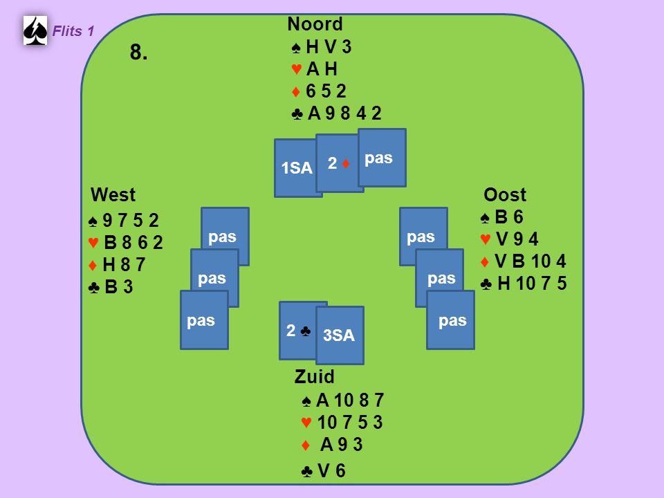 Zuid ♠ A 10 8 7 ♥ 10 7 5 3 ♦ A 9 3 ♣ V 6 West ♠ 9 7 5 2 ♥ B 8 6 2 ♦ H 8 7 ♣ B 3 Noord ♠ H V 3 ♥ A H ♦ 6 5 2 ♣ A 9 8 4 2 Oost ♠ B 6 ♥ V 9 4 ♦ V B 10 4 ♣ H 10 7 5 8.
