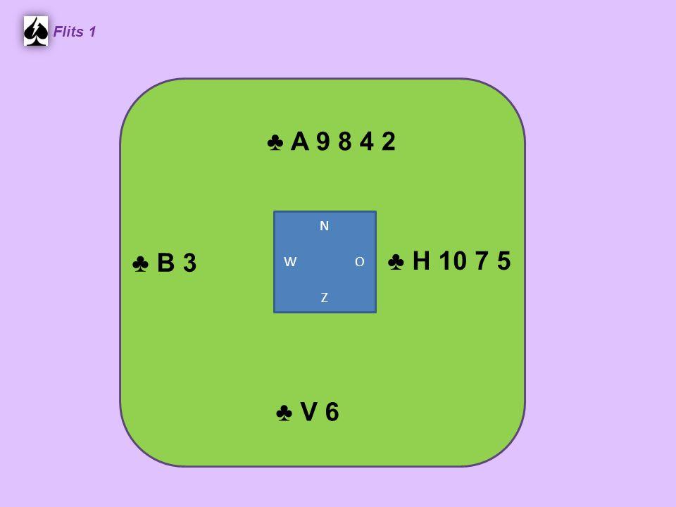 ♣ A 9 8 4 2 Flits 1 ♣ H 10 7 5 ♣ V 6 ♣ B 3 N W O Z