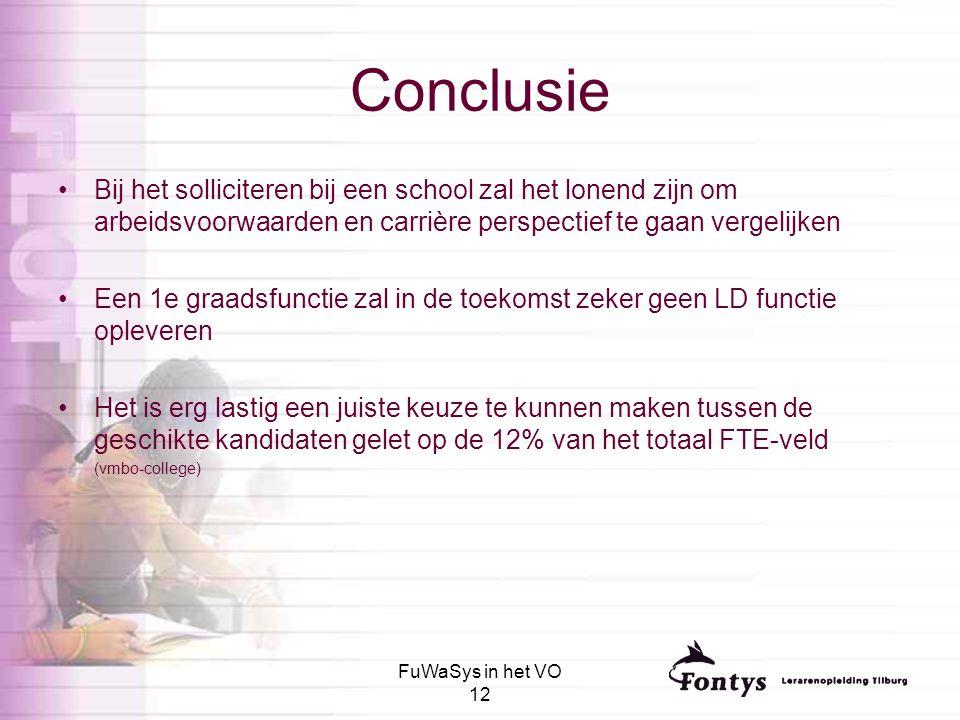 FuWaSys in het VO 12 Conclusie Bij het solliciteren bij een school zal het lonend zijn om arbeidsvoorwaarden en carrière perspectief te gaan vergelijk