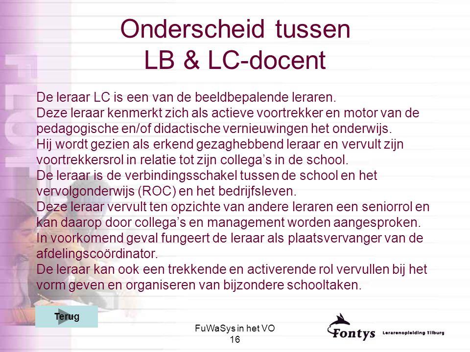 FuWaSys in het VO 16 Onderscheid tussen LB & LC-docent De leraar LC is een van de beeldbepalende leraren. Deze leraar kenmerkt zich als actieve voortr