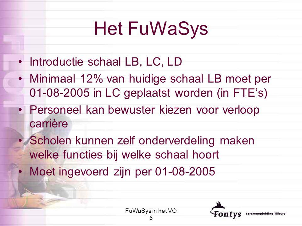 FuWaSys in het VO 6 Het FuWaSys Introductie schaal LB, LC, LD Minimaal 12% van huidige schaal LB moet per 01-08-2005 in LC geplaatst worden (in FTE's)