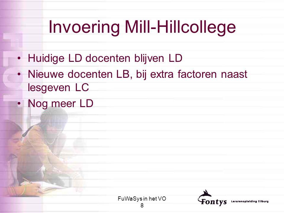 FuWaSys in het VO 8 Invoering Mill-Hillcollege Huidige LD docenten blijven LD Nieuwe docenten LB, bij extra factoren naast lesgeven LC Nog meer LD