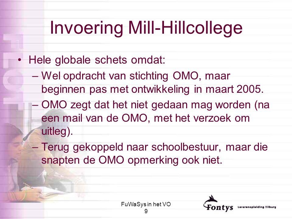 FuWaSys in het VO 9 Invoering Mill-Hillcollege Hele globale schets omdat: –Wel opdracht van stichting OMO, maar beginnen pas met ontwikkeling in maart