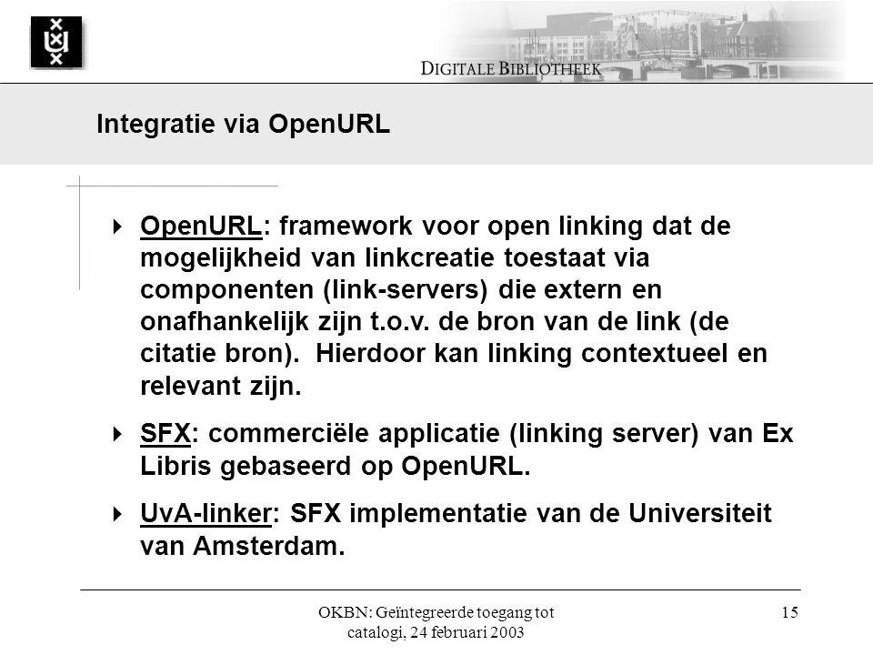 OKBN: Geïntegreerde toegang tot catalogi, 24 februari 2003 15  OpenURL: framework voor open linking dat de mogelijkheid van linkcreatie toestaat via componenten (link-servers) die extern en onafhankelijk zijn t.o.v.