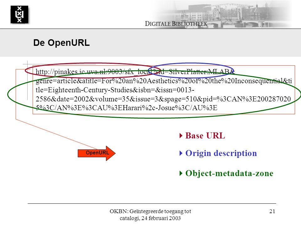 OKBN: Geïntegreerde toegang tot catalogi, 24 februari 2003 21 OpenURL http://pinakes.ic.uva.nl:9003/sfx_local?sid=SilverPlatter:MLAB& genre=article&atitle=For%20an%20Aesthetics%20of%20the%20Inconsequential&ti tle=Eighteenth-Century-Studies&isbn=&issn=0013- 2586&date=2002&volume=35&issue=3&spage=510&pid=%3CAN%3E200287020 5%3C/AN%3E%3CAU%3EHarari%2c-Josue%3C/AU%3E  Base URL  Origin description  Object-metadata-zone De OpenURL