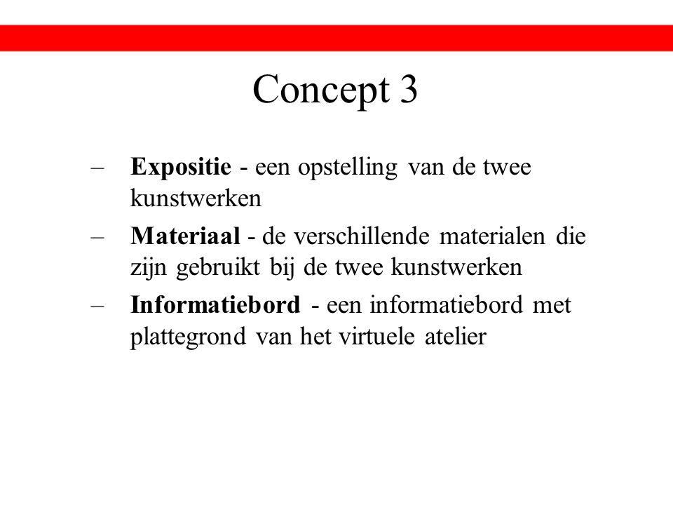 Concept 3 –Expositie - een opstelling van de twee kunstwerken –Materiaal - de verschillende materialen die zijn gebruikt bij de twee kunstwerken –Informatiebord - een informatiebord met plattegrond van het virtuele atelier