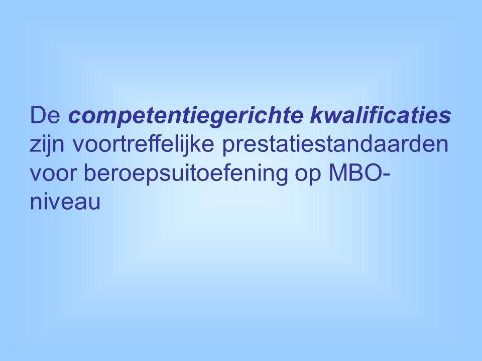 De competentiegerichte kwalificaties zijn voortreffelijke prestatiestandaarden voor beroepsuitoefening op MBO- niveau