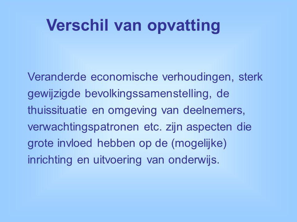 Veranderde economische verhoudingen, sterk gewijzigde bevolkingssamenstelling, de thuissituatie en omgeving van deelnemers, verwachtingspatronen etc.